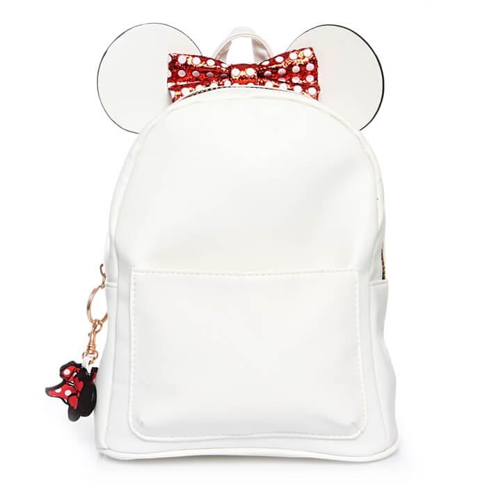 biały plecak skórzany disney mickey mouse