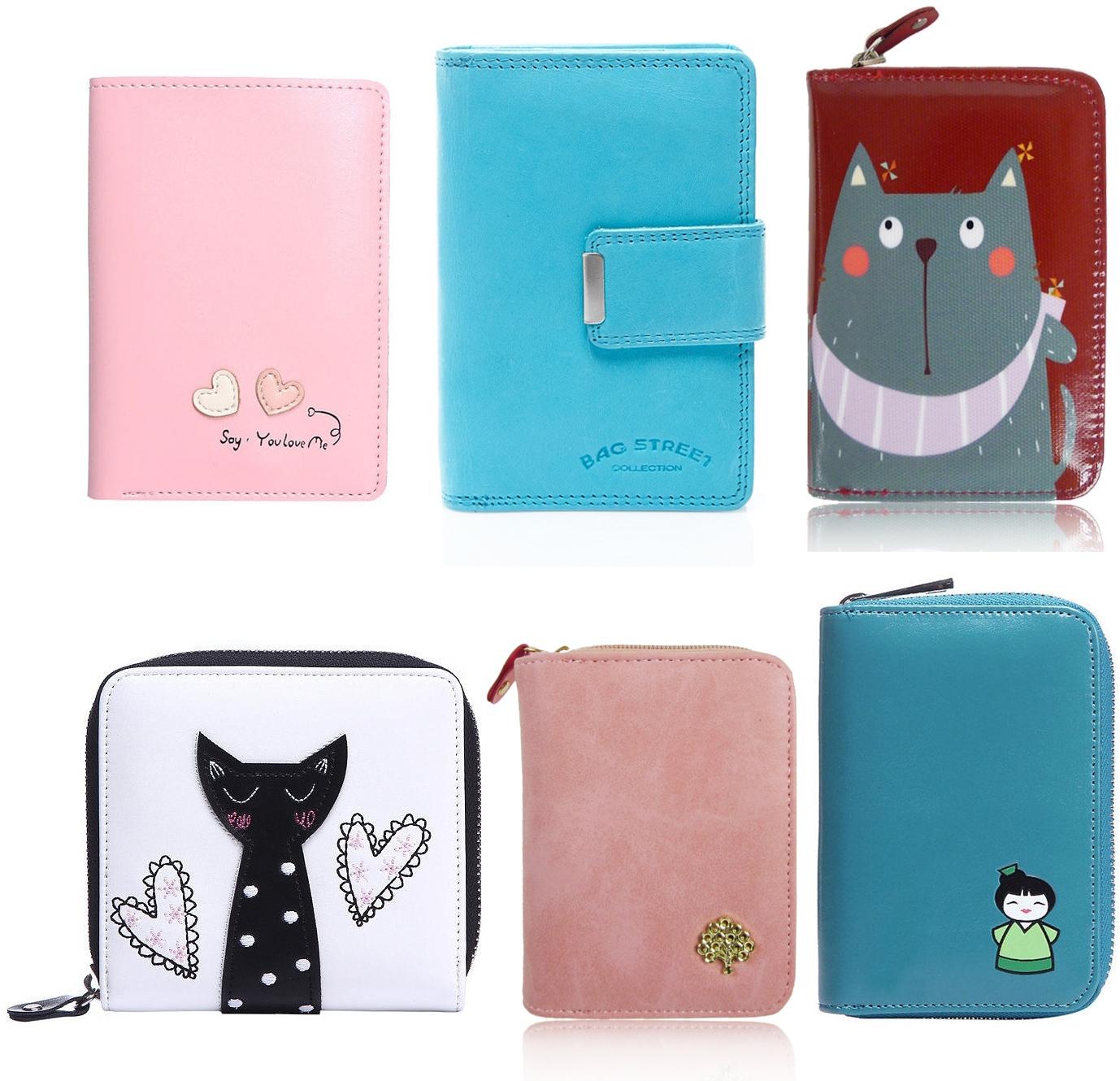 kolorowe portfele z nadrukiem