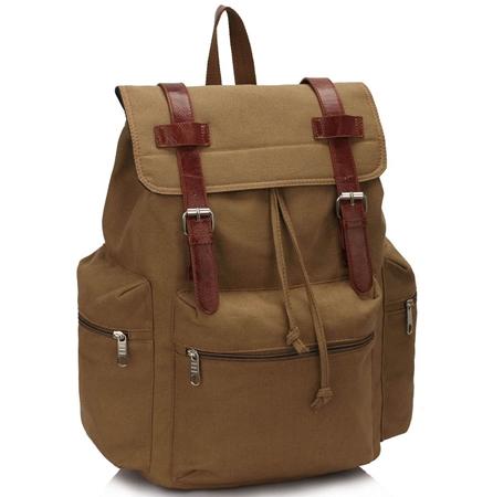 330a7956d4348 Duży plecak vintage męski A4 Beż TEXAS