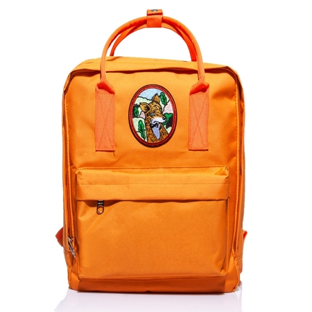 1f8ba415db949 Plecak damski vintage pomarańczowy z Lisem