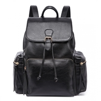 6dc9f87f703ac ... Czarny plecak skórzany vintage A4 Newton